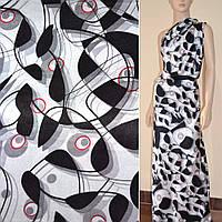 Атласная ткань стрейч белая с черно красная абстрактный рисунок  атлас