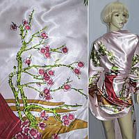 Стрейч атласная ткань атлас бледно розовый с девушкой в вишневое платье ш.150