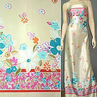Атласная ткань стрейч бежевая в розовая и зеленые цветы атлас