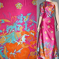 Атласная ткань стрейч малиновая в голубой и оранж купон атлас