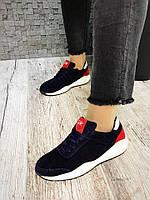 Кроссовки из натуральной замши. Цвет темно синий+красный. Р-р 36-40