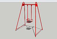 Детские одноместные качели с жесткой подвеской для игровой площадки К-1