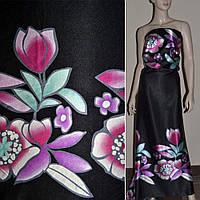 Атласная ткань стрейч черный двухстороняя куп в роз бирюз цветы атлас