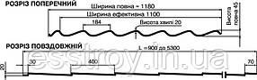 """Металлочерепица  """"Монтерей"""" 350 Глянец 0,45 Словакия, фото 2"""