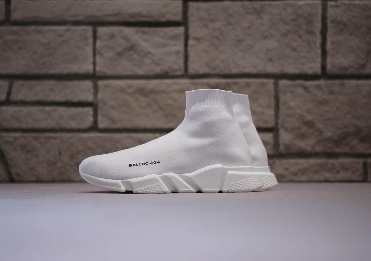 Кроссовки Balenciaga Speed stretch-knit Mid White (реплика)