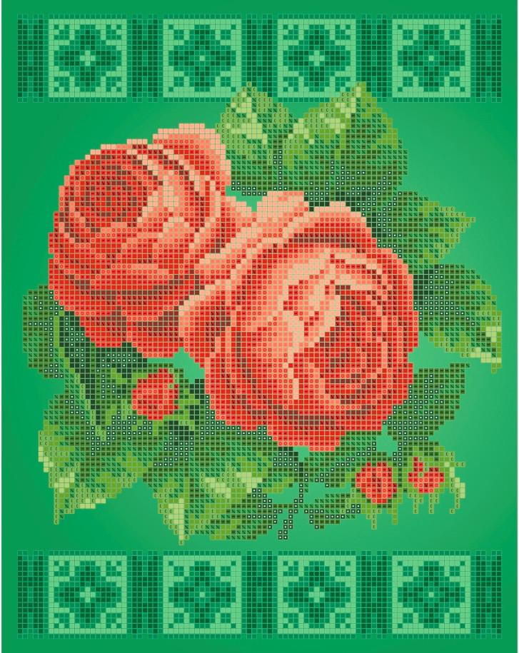 Схема для вишивки та вишивання бісером Бисерок «Рожеві троянди» (A4) 20x25 (ЧВ-3423(10))