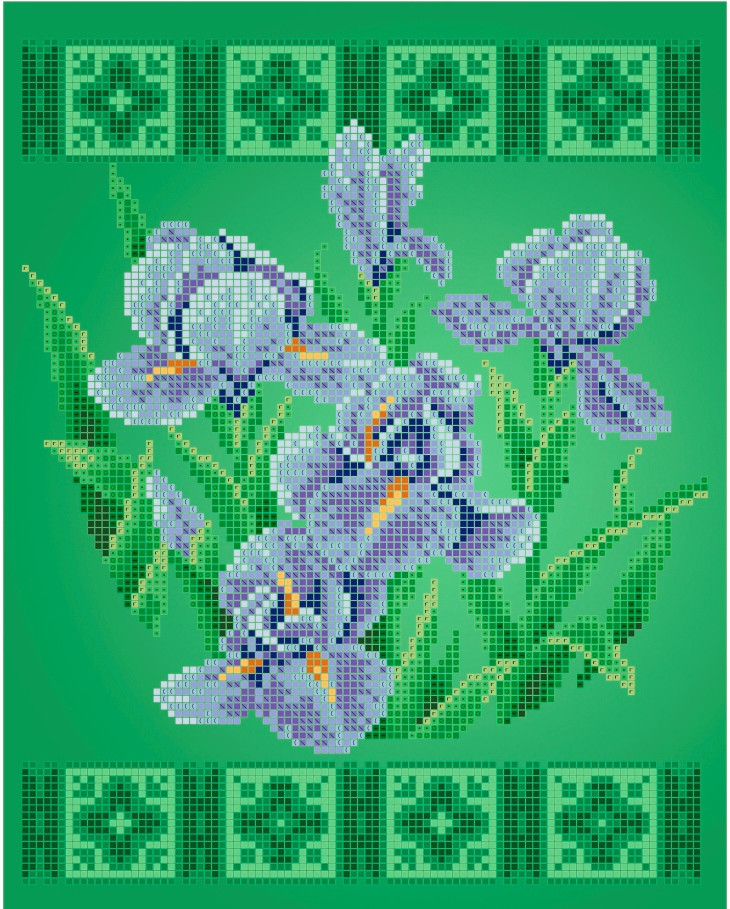 Схема для вишивки та вишивання бісером Бисерок квіти «Ирисы» (A4) 20x25 (ЧВ-3422(10))