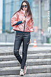 Куртка из перламутровой плащевки  цвет розовый S-M, фото 5