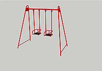 Детские двухместные качели с жесткой подвеской для детской площадки, для дачи, частного дома К-2