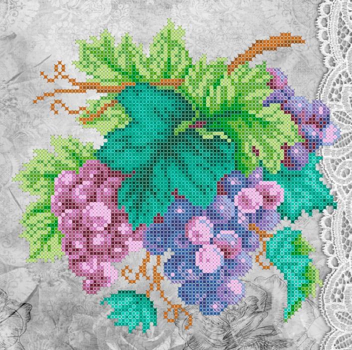 Схема для вишивки та вишивання бісером Бисерок «Виноград» (A4) 20x25 (ЧВ-3328(10))