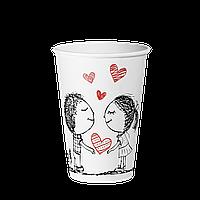 """Стакан бумажный 340 мл. """"Ф"""" Love is 50уп (35/1750) (КВ80)"""