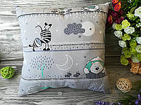 Подушка детская мятный мишка и зебра,  35 см * 35 см