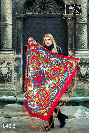 Красный павлопосадский платок Осенний круговорот, фото 2