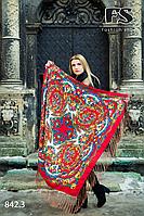 Красный павлопосадский платок Осенний круговорот
