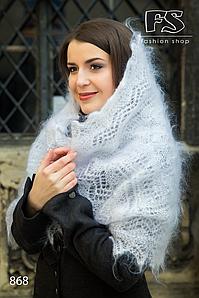 Белый женский пуховый палантин Юлиана