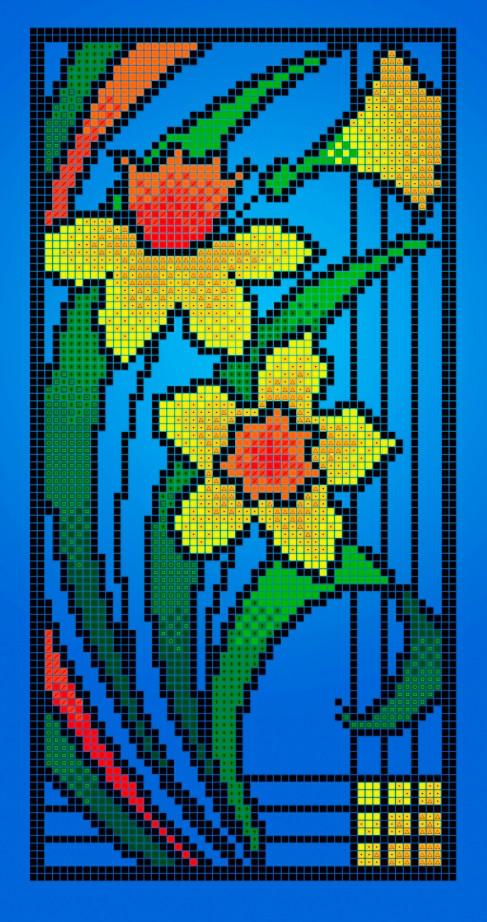 Схема для вишивки та вишивання бісером Бисерок «Вітраж весна» (A4) 20x25 (ЧВ-3307(10))