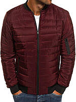 Мужской бомбер/куртка без капюшона, бордовая