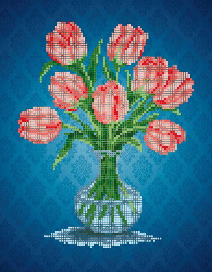 Схема для вишивки та вишивання бісером Бисерок  квіти «Тюльпани» (A4) 20x25 (ЧВ-3403(10))