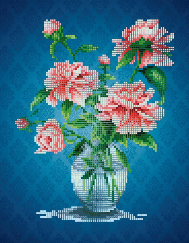 Схема для вишивки та вишивання бісером Бисерок квіти «Півонії» (A4) 20x25 (ЧВ-3402(10))