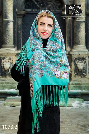 Мятный павлопосадский платок Царский, фото 2
