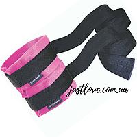 Наручники Sportsheets Kinky Pinky Cuffs с ремнями, розовые