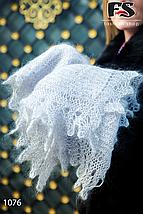 Оренбургский серый пуховый палантин Алина, фото 3