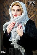 Оренбургский серый пуховый палантин Алина, фото 2