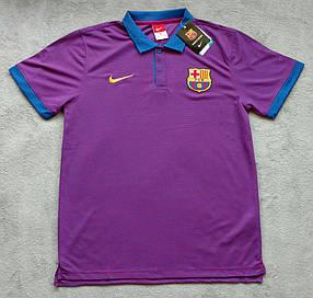 Клубная футболка поло Барселона, Barcelona, фиолетовая, Ф3604