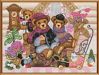 """Набор для вышивания нитками на канве с фоновым рисунком """"Мишкин дом"""", 40*30см"""
