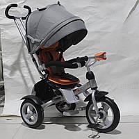 Детский велосипед-коляска CROSSER T-503 AIR WHEEL серый с оранжевым