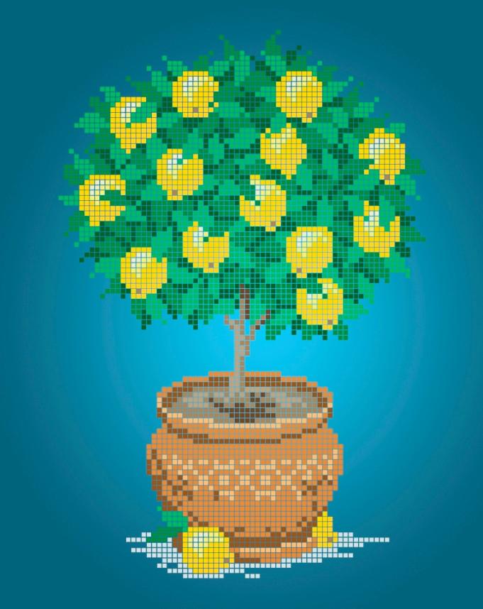 Схема для вишивки та вишивання бісером Бисерок «Лимонне дерево» (A4) 20x25 (ЧВ-3130(10))