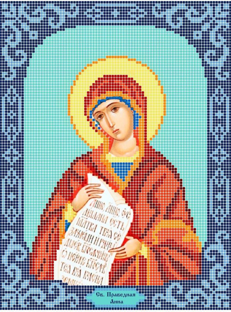 Схема для вишивки та вишивання бісером Бисерок «Св. Праведна Анна» Синій фон (A4) 20x25 (ЧВ-3200-1 (10))
