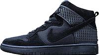 Мужские высокие кроссовки Nike Dunk Black Найк Данк черные
