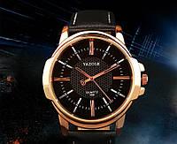 Стильные мужские часы Yazole. Черный с черным. Код 077, фото 1