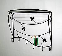 Вешалка кованая настенная овальная 50 см, черная, фото 1