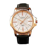Стильные мужские часы Yazole. Черный с белым. Код 077, фото 1