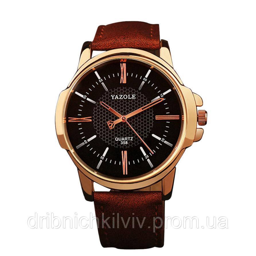 Стильные мужские часы Yazole. Коричневый с черным. Код 077