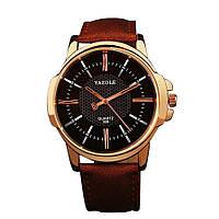 Стильные мужские часы Yazole. Коричневый с черным. Код 077, фото 1
