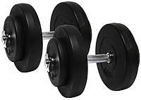 Гантели наборные 2*10 кг с металлическим грифом (20 кг общий вес), фото 1