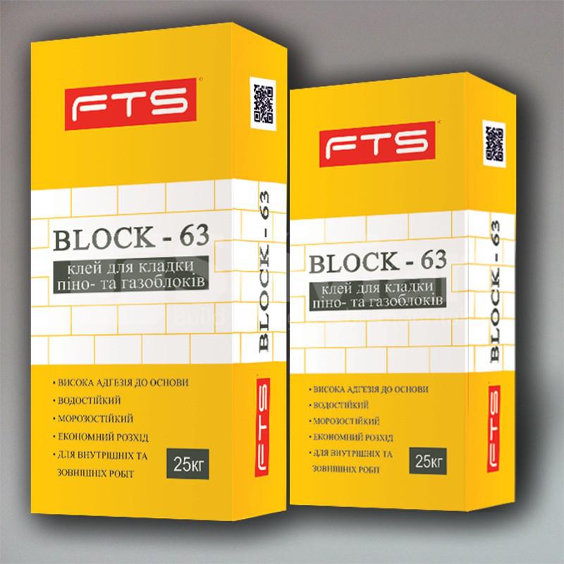 Клей для пенно- та газоблоков FTS «BLOCK 63», 25кг