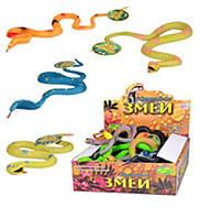 Антистрес, Рептилія JT 7213 змії, наповнювач, 4 види, 24 шт. в дисп., 22-19-7 см