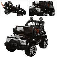Детский электромобиль двухместный  Джип  M 3157 EBLR-2  ЕВА колеса с кожаным сиденьем черный***, фото 1