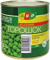 Горошок зелений консервований 420 г, жовт етик