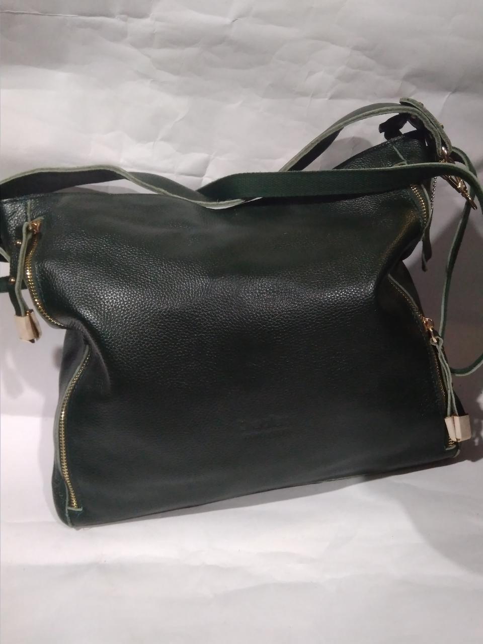 4be155a5d31e Женская кожаная сумка зеленая через плечо вместительная - Оптово-розничный  магазин
