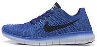 Мужские спортивные кроссовки Nike Free Run Flyknit Найк Фри Ран синие