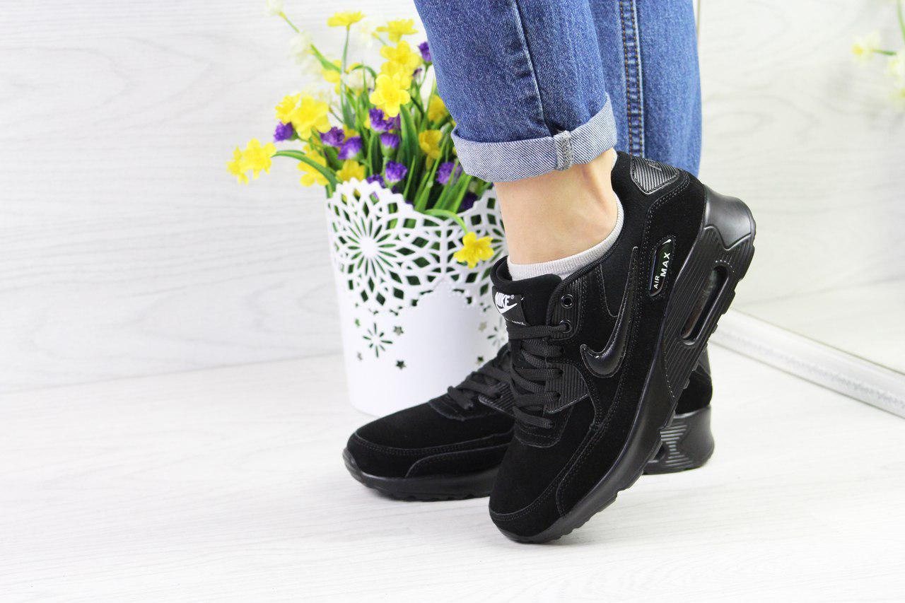 Женские кроссовки  Nike Air Max 90  (черные), ТОП-реплика