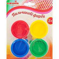 Пальчиковые краски 4шт с штампами  по 25мл., на блистере 14*22см