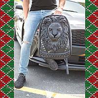 Мужской кожаный рюкзак 3D со львом , casual