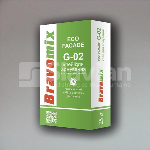 Клей для армирования и приклейки теплоизоляционных плит Bravomix «ECO FACADE G-02», 25кг
