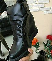 Сникерсы женские из натуральной кожи  с атласными шнурками